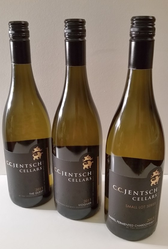 C.C. Jentsch Cellars The Quest, Viognier, and Barrel Fermented Chardonnay white wines