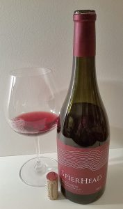 SpierHead GFV Saddle Block Pinot Noir 2015 with wine in glass