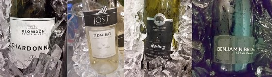 Blomidon Estate Winery Chardonnay, Benjamin Bridge Methode Classique, Devonian Coast Wineries Jost Tidal Bay and Gaspereau Riesling from Nova Scotia