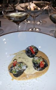 Squid Ink Dungeness Crab Tortellini with Culmina Dilemma 2014 at Ancora