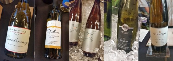 Black Hills Estate Winery Chardonnay, Domaine de Grand Pre Riesling 2015, Intersection Estate Winery Riesling 2015, Devonian Coast Wineries Gaspereau Riesling, 2015 CedarCreek Estate Winery Platinum Block 3 Riesling 2015 wines from Canada