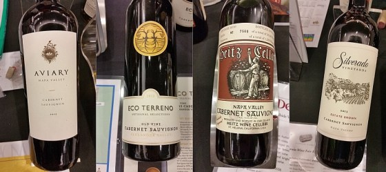 Aviary Vineyards, Eco Terreno, Heitz Cellars, and Silverado Vineyards Cabernet Sauvignon from California