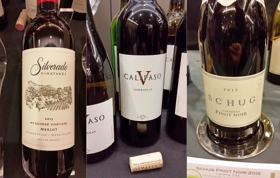 Silverado Mt. George Vineyard Merlot 2013, Schug Carneros Pinot Noir 2015, and Calipaso Tempranillo 2013