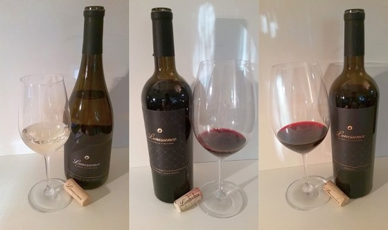 Lunessence Sauvignon Blanc - Muscat, Cabernet Sauvignon, and Merlot with wine in glass