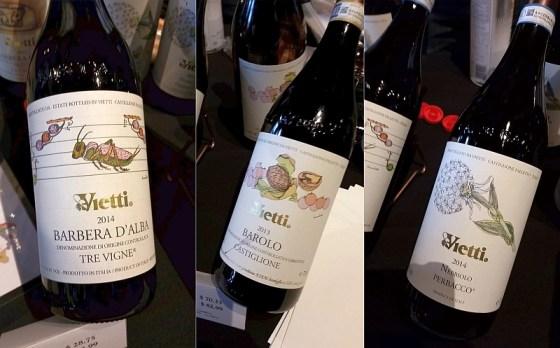 Vietti Barbera d'Alba Tre Vigne, Vietti Barolo Castiglione, and Vietti Langhe Nebbiolo Perbacco wines