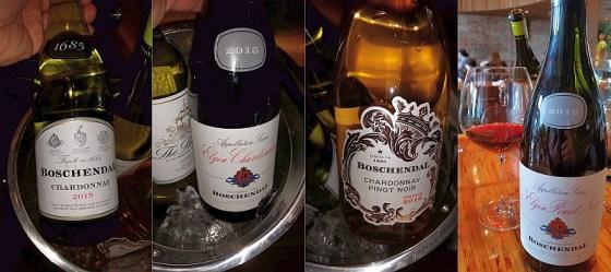 Boschendal 1685 and Elgin Chardonnays, Chardonnay Pinot Noir rose, and Elgin Pinot Noir