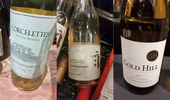 Corcelettes Estate Winery Gewurztraminer, Hillside Winery Un-oaked Pinot Gris, and Gold Hill Winery Viognier