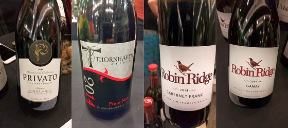 Privato Vineyard and Winery Tesoro Pinot Noir, Thornhaven Estate Winery Pinot Noir, and Robin Ridge Gamay and Cabernet Franc