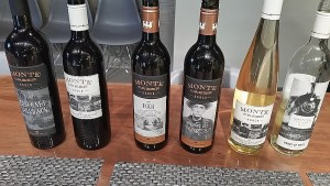 A flight of red and white wines from Monte Creek Ranch Winery to taste