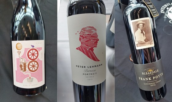 Alpha Box & Dice Winery Blood of Jupiter, Bleasdale Vineyards Frank Potts Langhorne Creek Red Blend, and Peter Lehmann Portrait Barossa Valley Shiraz