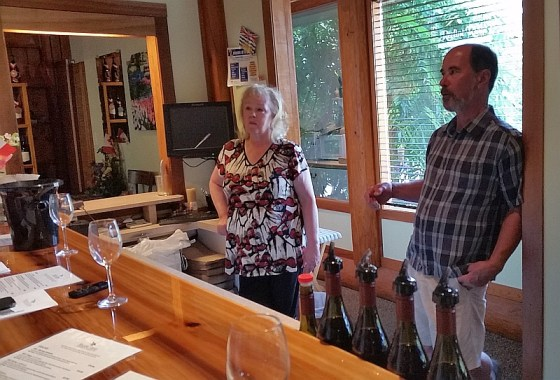 Graydon and Maureen Ratzlaff in tasting room at Recline Ridge Winery