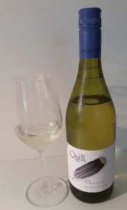 Blue Grouse Quill White Wine 2015 and glass