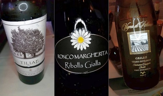 Ronco Margherita Tiliae and Ribolla Gialla Brut, and Maggio Vini Vigna di Pettineo Grillo wines