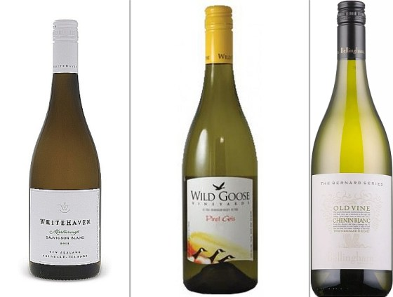Whitehaven Sauvignon Blanc, Wild Goose Pinot Gris, and Bellingham Bernard Series Old Vine Chenin Blanc