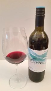 Evolve Cellars Shiraz and wine in glass