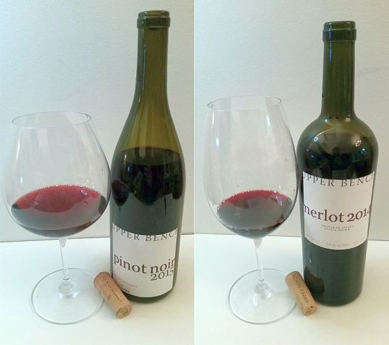 Upper Bench Pinot Noir and Merlot with wine in glasses