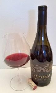 Spierhead Pinot Noir Cuvee 2016 bottle plus glass of wine