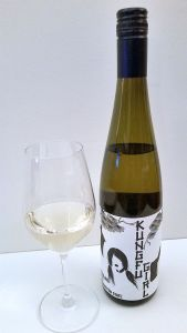Charles Smith Wines Kung Fu Girl Riesling 2015 with wine in glass