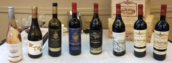 Flight of wines from Barone Ricasoli