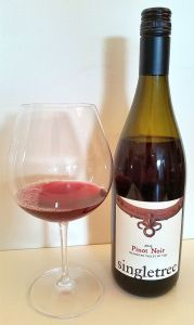 Singletree Pinot Noir 2015 with wine in glass