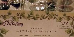 Latin Passion for Terroir menu