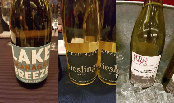 Lake Breeze Pinot Gris, Upper Bench Riesling, and Kettle Valley Semillon Sauvignon Blanc