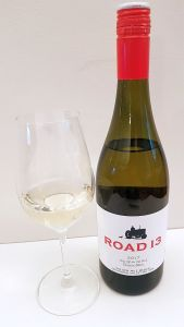Road 13 Vineyards Chip off the Old Block Chenin Blanc 2017 with wine in glass