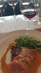 Ogier wine with seared duck breast at Provence Marinaside