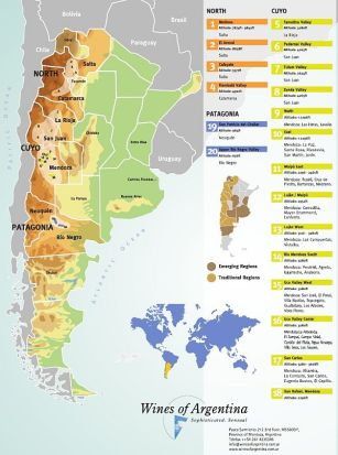 Wine regions of Argentina (Image courtesy Wines of Argentina)