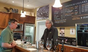 Karl MyWinePal tasting wine with Michael from C.C. Jentsch Cellars