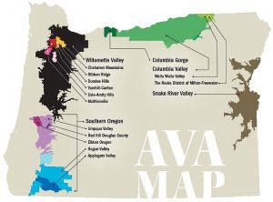 Oregon AVA Map (Image courtesy http://www.oregonwinepress.com/abcs-of-oregon-avas)