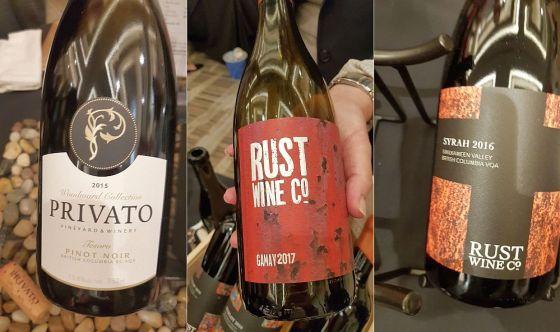 PrivatoVineyards and Winery Tesoro Pinot Noir 2015, Rust Wine Co SV Syrah 2016 and Gamay 2017