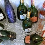 Champagne Taittinger bottles on ice