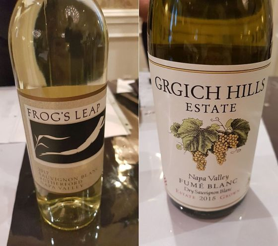Frog's Leap Winery Rutherford Sauvignon Blanc 2017 and Grgich Hills Estate Napa Valley Fume Blanc 2015