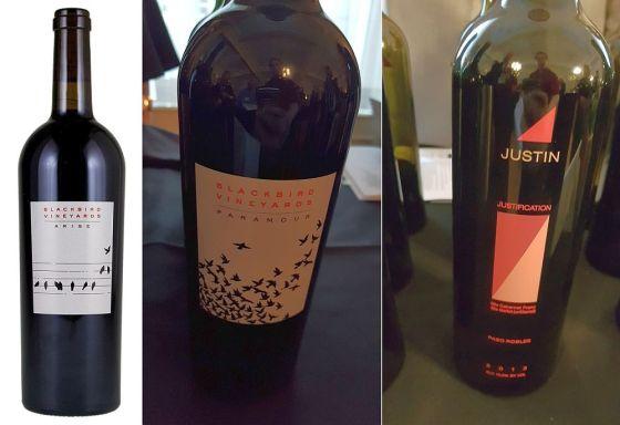 Blackbird Vineyards Arise, Blackbird Vineyards Paramour, and Justin Justification wines