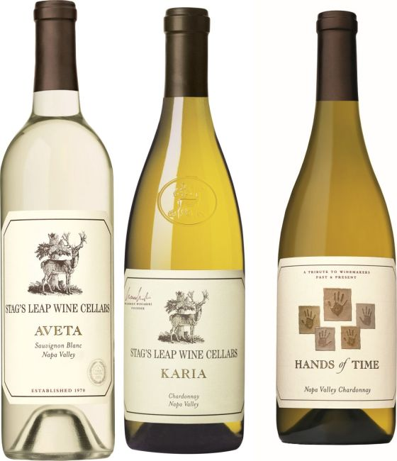 Stag's Leap Wine Cellars Aveta Sauvignon Blanc, Karia Chardonnay, and Hands of Time Chardonnay