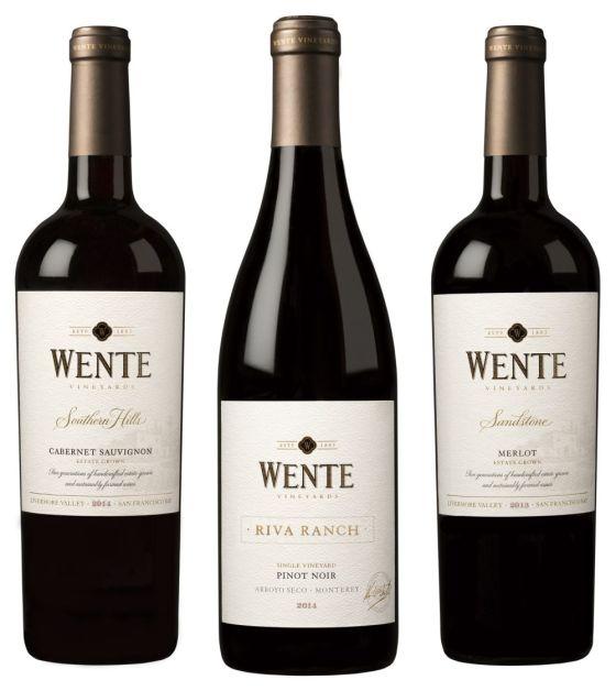 Wente Southern Hills Cabernet Sauvignon, Riva Ranch Single Vineyard Pinot Noir, and Sandstone Merlot