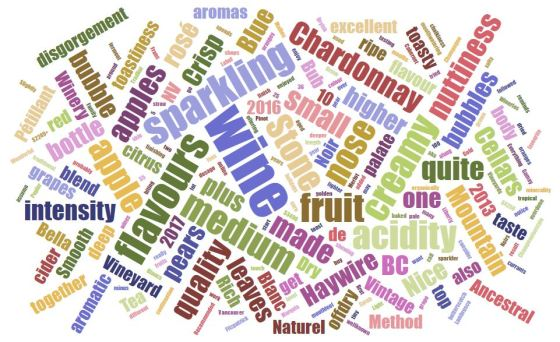 BC sparkling wine word cloud for 2018