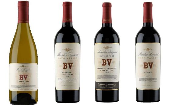 Beaulieu Vineyard Carneros Chardonnay, Napa Valley Cabernet Sauvignon, Rutherford Cabernet Sauvignon, and Napa Valley Merlot wines
