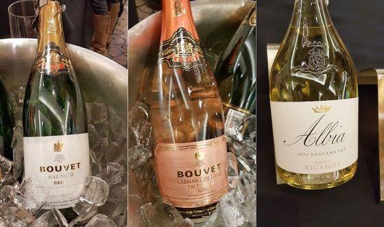 Bouvet Brut, Bouvet Cremant de Loire, and Barone Ricasoli Albia wines
