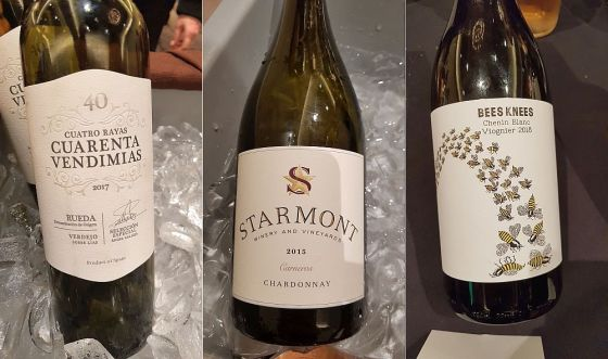 Cuatro Raya Cuarenta Vendimias Verdejo, StarmontCarneros Chardonnay, and Bees Knees Chenin Viognier wines
