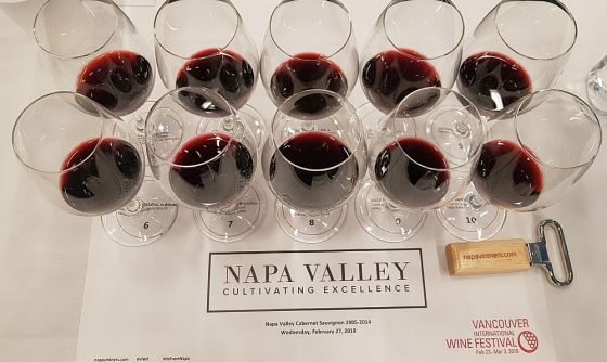 Glasses of Napa Valley Cabernet Sauvignon at our seminar at VanWineFest 2019