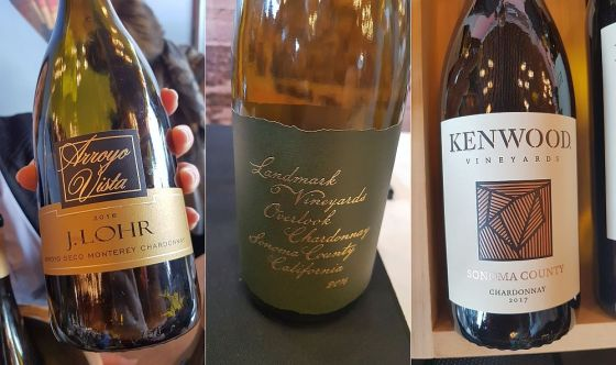 J. Lohr Vineyards & Wines Arroyo Vista Chardonnay 2016, Justin Vineyards and Winery Landmark Chardonnay 2016, and Kenwood Vineyards Sonoma Series Chardonnay 2017 wines at VanWineFest 2019