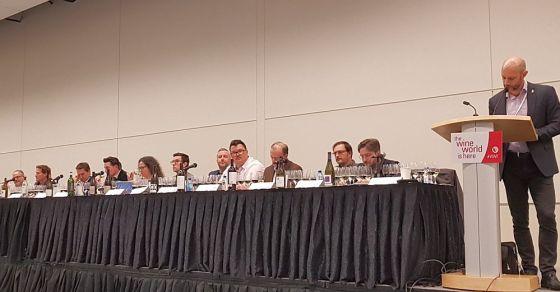 Speakers at Rhone Around The World plus moderators Mark Shipway and Jon Bonne at VanWineFest 2019