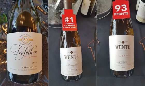 Trefethen Family Vineyards Estate Chardonnay 2016, Wente Vineyards Morning Fog Chardonnay 2017 and Riva Ranch Single Vineyard Chardonnay 2016 at VanWineFest 2019