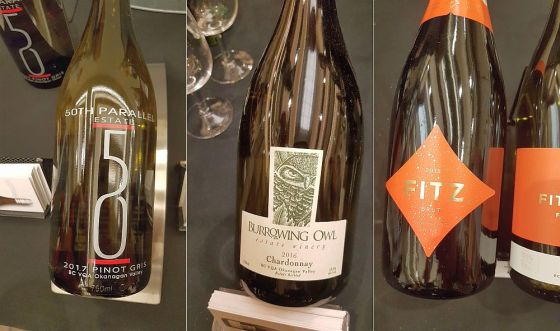 50th Parallel Estate Pinot Gris 2017, Burrowing Owl Chardonnay 2016, and Fitzpatrick Family Vineyards Fitz Brut 2015 wines