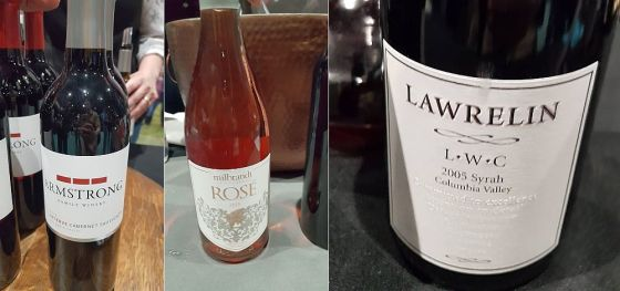 Armstrong Family Winery Reserve Cabernet Sauvignon, Milbrandt Vineyards Rose, and Lawrelin Wine Cellars Syrah at Taste WA