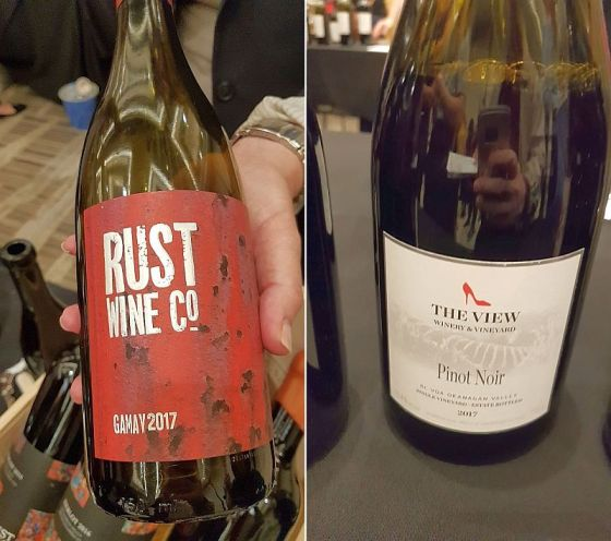 Rust Wine Co. Gamay 2017 and The View Winery Pinot Noir 2017 wines