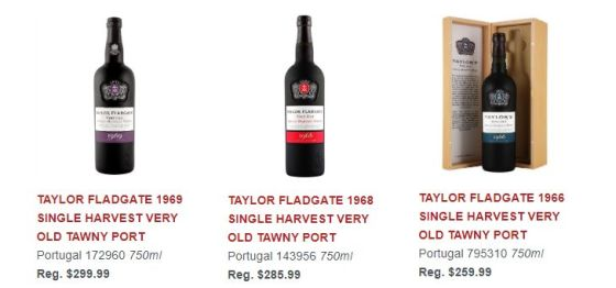 TAYLOR FLADGATE 1969 SINGLE HARVEST VERY OLD TAWNY PORT, 1968 SINGLE HARVEST VERY OLD TAWNY PORT, and TAYLOR FLADGATE 1966 SINGLE HARVEST VERY OLD TAWNY PORT