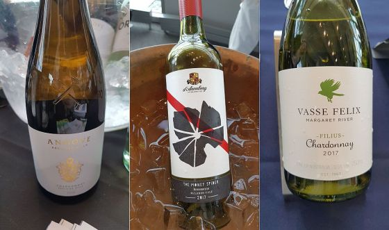 Angove Family Winemakers Family Crest Adelaide Hills Chardonnay 2018, d'Arenberg The Money Spider McLaren Vale Roussanne 2017, and Vasse Felix Filius Margaret River Chardonnay 2017